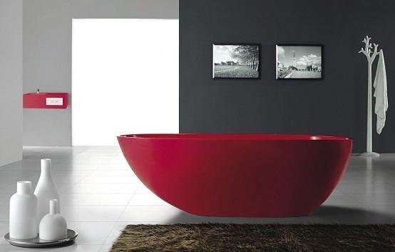 Насыщенность красного цвета создает ощущение бодрости и элегантности. Ванна в стиле модерн и хайтек великолепно отображает сущность изысканного дизайна