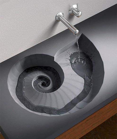 Умывальник необычной формы – то, что нужно в оформлении стиля хай тек