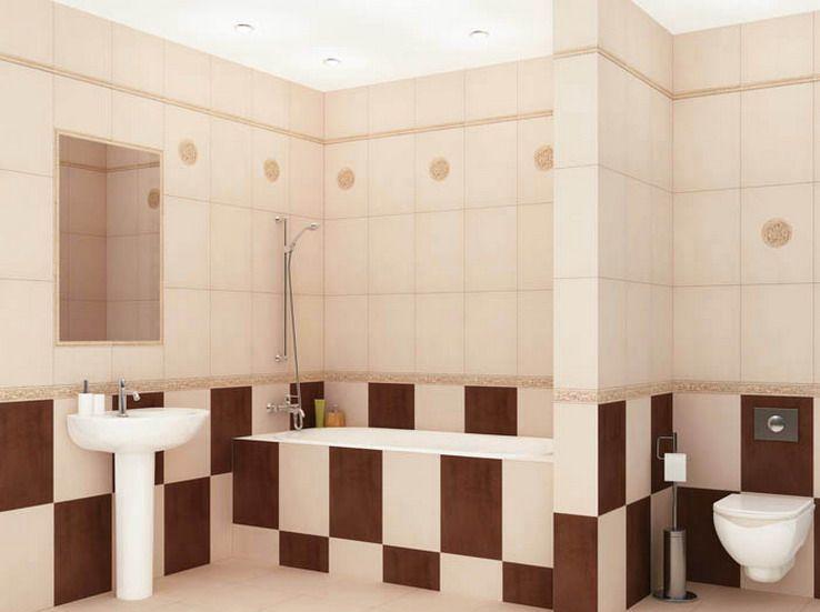 Визуально расширит ванную облицовка стен на ту же, что и экран, высоту