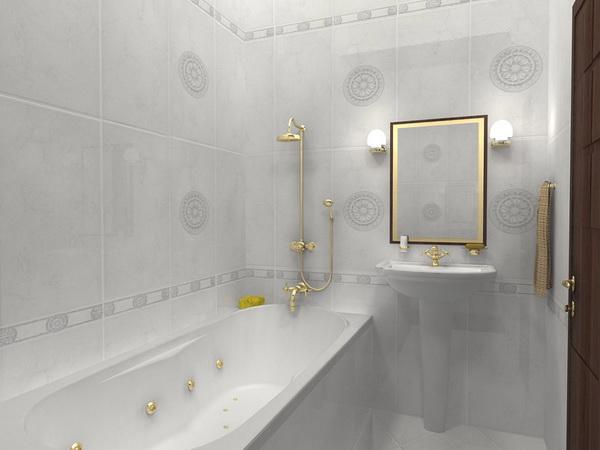 Плитка светлых тонов визуально расширит ванную