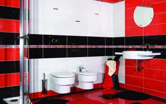 Эффектная и элегантная ванная в сочетании красного, белого и черного цвета