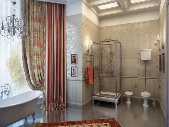 Классический английский стиль ванной комнаты завораживает своей элегантностью