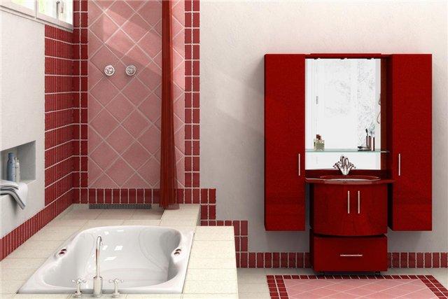 Ванная комната красно-белая: гармоничное сочетание оттенков