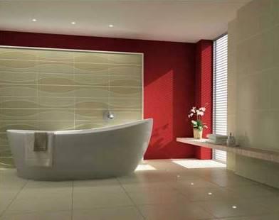 Безупречная ванная комната красного цвета в китайском стиле