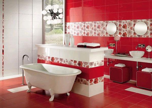 Ванная комната в красно-белом цвете, где красный преобладает