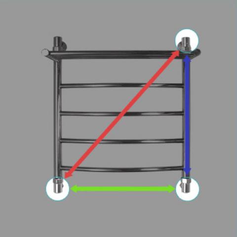 Схема трёх видов подключения (нижнее, боковое и диагональное)