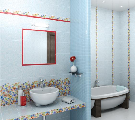 Дизайн ванной комнаты кафельной плиткой.