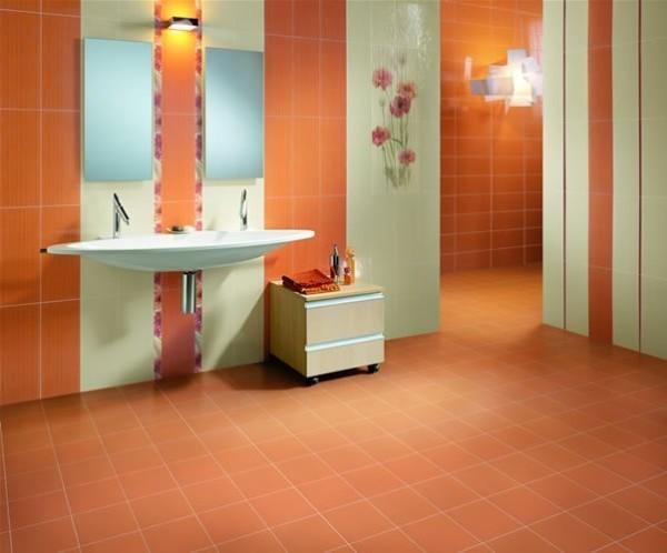 Сочетание оранжевого с зеленым тоном – хорошее решение для жизнерадостной ванны