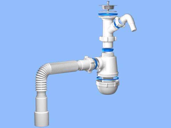 Усовершенствованная модель - сифон с переливом - контролирует количество поступающей воды и предупреждает затопление комнаты.