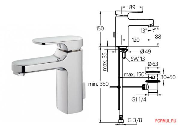Схема монтажа смесителя с донным клапаном