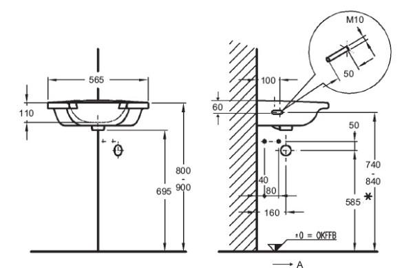 Чертеж того, как установить угловую раковину (с размерами)