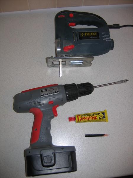 Инструменты для монтажа мойки