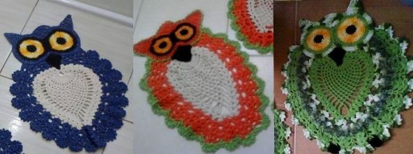 Даже популярный коврик-сова может выглядеть по-разному с учётом использования пряжи, различного цвета