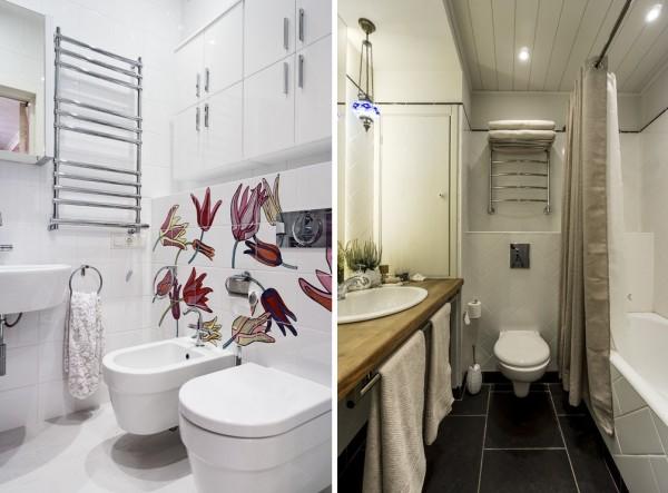 Электрическая сушка для белья удобна тем, что может монтироваться в любой части ванной, даже в небольшой нише