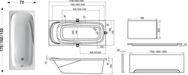 Габариты и конфигурация прямоугольной акриловой купели.