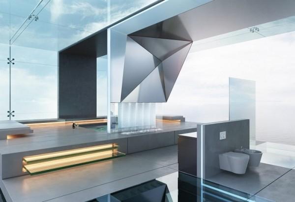 Изобилие подсветки и теплый пол, встроенная в пол купель делают комнату технологичной