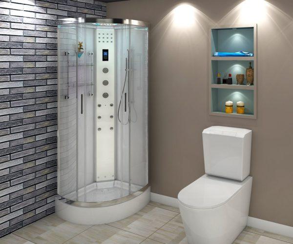 Кабинка с душем позволит комфортно принимать гигиенические процедуры и в маленькой ванной.