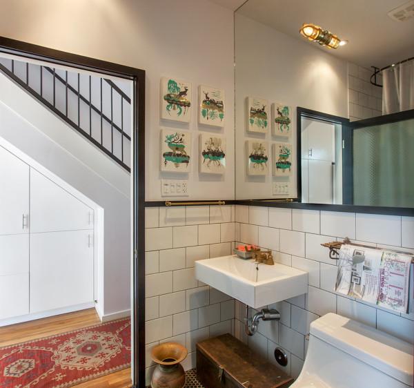 Классическая серая затирка швов плитки в ванной