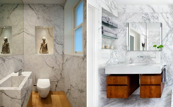 Мрамор в маленькой ванной