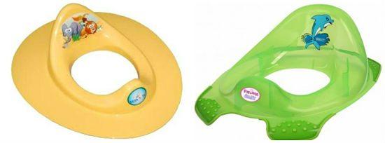 Накладки на унитаз для детей могут отличаться как цветом, формой, способом крепления и наличием дополнительных девайсов