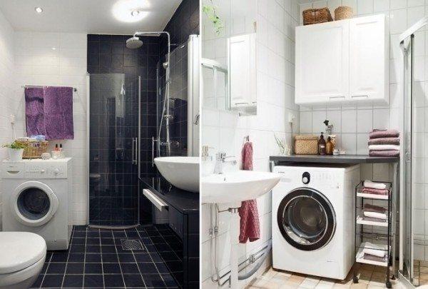 Полезную площадь над стиральной машиной можно превратить в полку или навесной шкаф