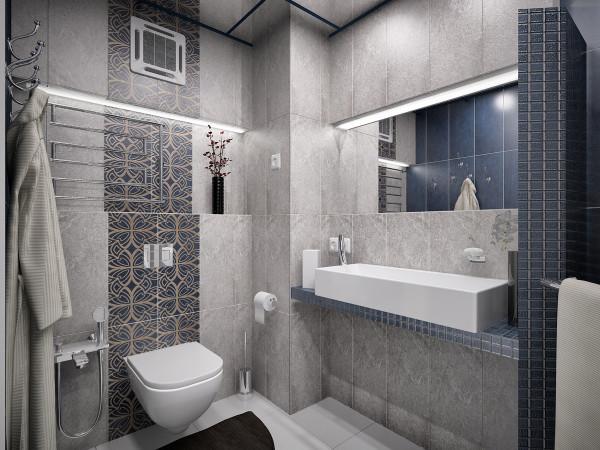 Сочетание синего, серого и белого выглядит очень изящно, а еще – подходит для компактных ванных комнат