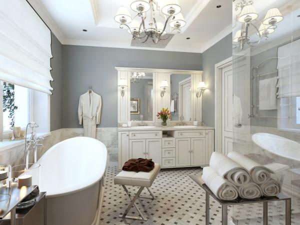 Светлые оттенки в современной ванной комнате