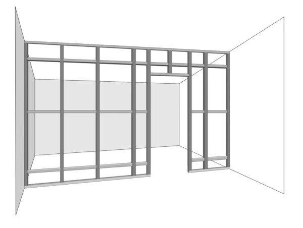 В нижней направляющей оставлен разрыв на ширину дверного проема.