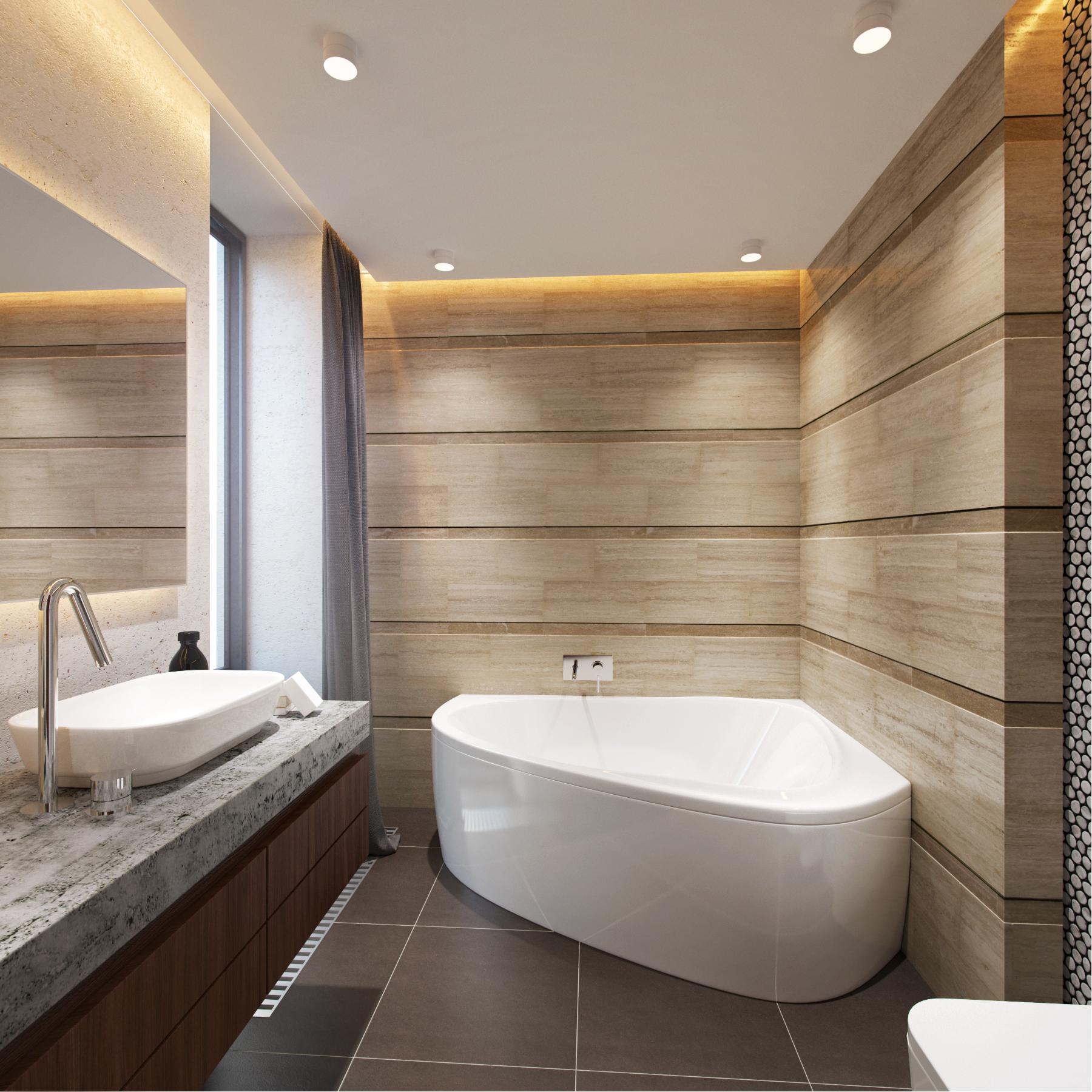 смотреть дизайн ванных комнат с угловой ванной сейчас