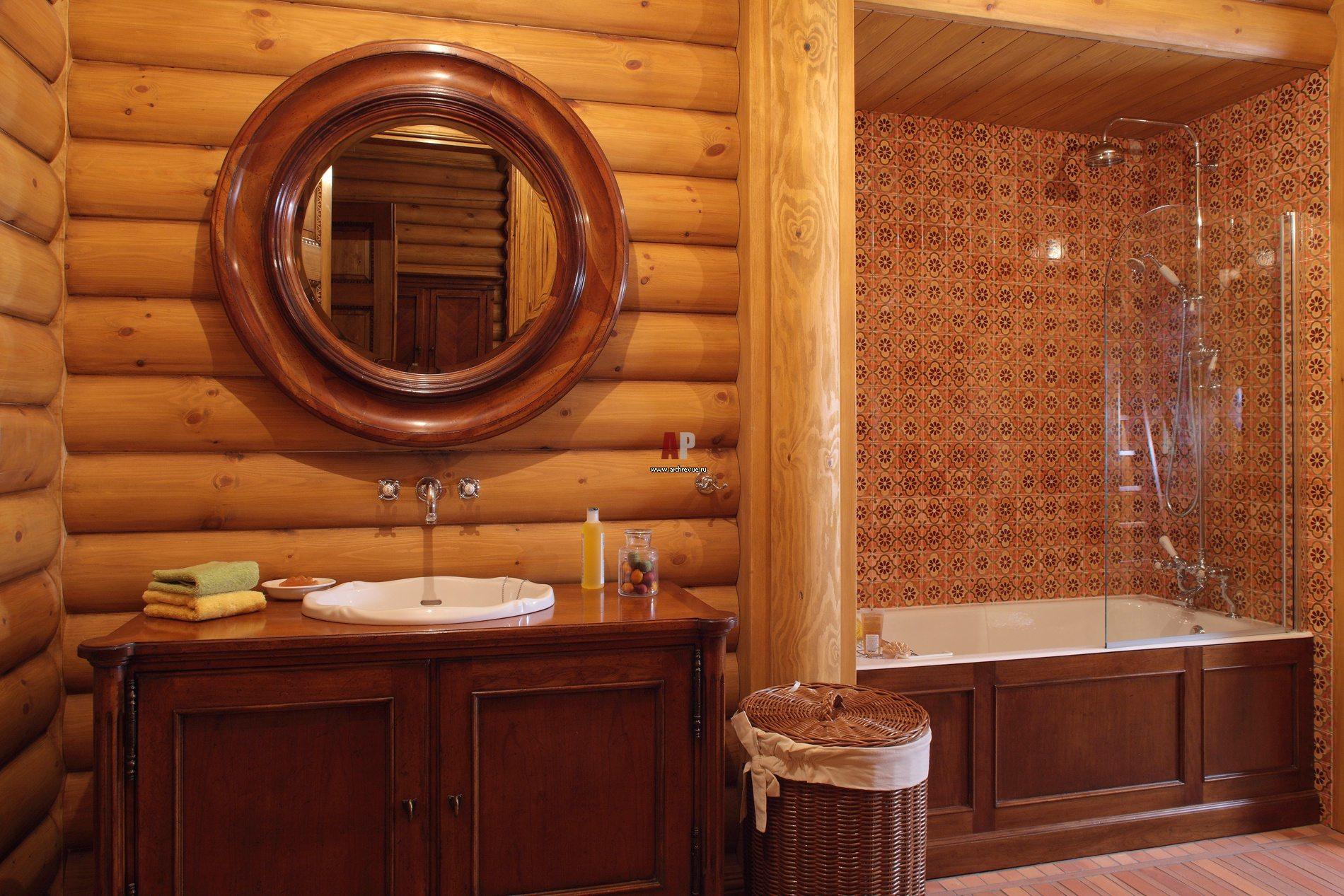 домах в фото санузла деревянных интерьеры