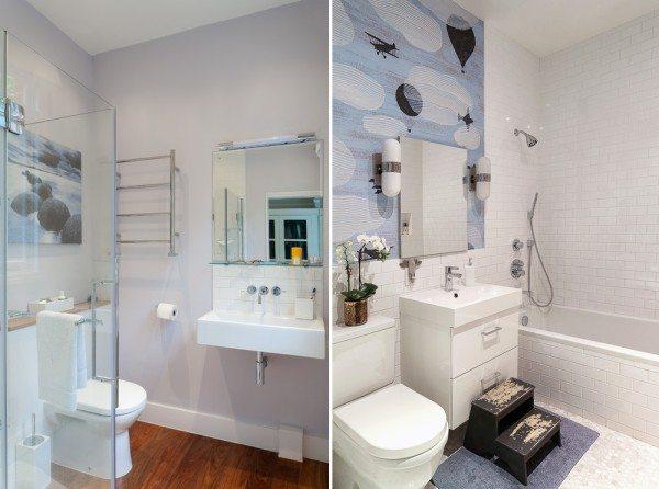 Ванная в хрущевке может зонироваться легкими стеклянными перегородками